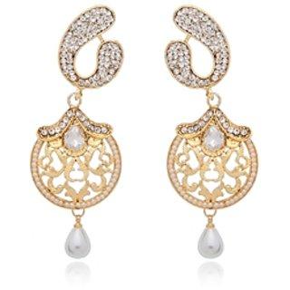 Vanila Jewels Gold Plated CSHAPE DANGLER EARRING