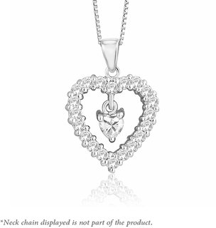 Peora Sterling Silver Rhodium Plated Round Cut  Heart Cubic Zirconia Eternal Love Pendant PP1286