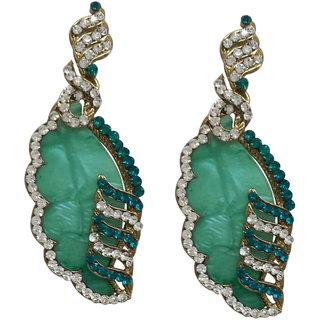 Dvine Jewels fancy acrylic concept earring in green in metal for women (1904)