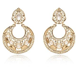 Vanila Jewels Gold Plated CHAND BALI UNCUT STONES EARRING