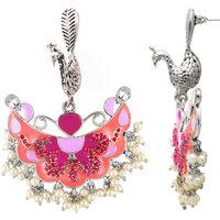 Mahi Rhodium Plated Pink Fushcia Peacock Earrings for Women ER1109410R