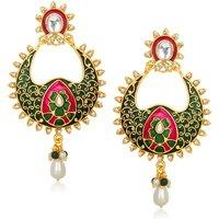 Kriaa Gold Plated Pink & Green  Kundan Meenakari Earrings - 1305432