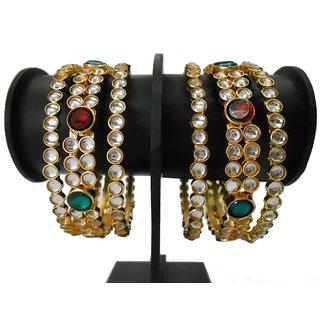 My Design gold plated kundan bangles