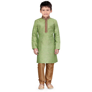 Pagli jute linen green foil print kurta For boys