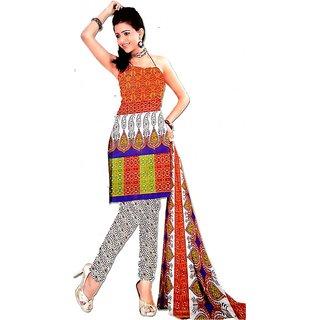 Unstitched Cotton Trendy Salwar Suit With Dupatta / Chunni
