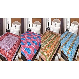 Akash Ganga Special COMBO OF 4 Single Cotton Bedsheets