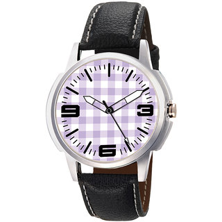 Gledati Round Dial Black Leather Strap Quartz Watch For Men