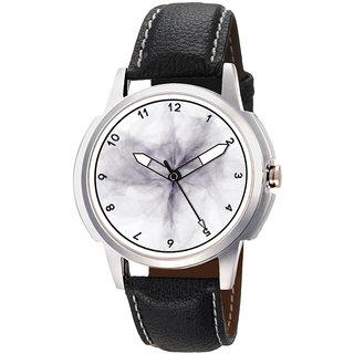 Gledati Round Dial Black Leather Strap Quartz Watch For Men