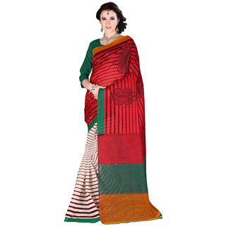 Parisha Multicolor Linen Self Design Saree With Blouse