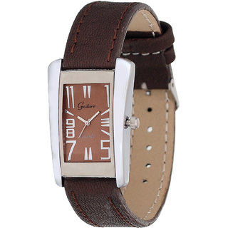 Gesture Rectangle Dial Brown Leather Strap Womens Quartz Watch