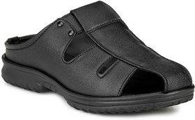 Manav Mens Black Velcro Sandals