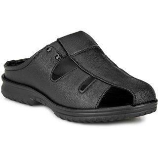 Manav Mens Black Velcro Sandals