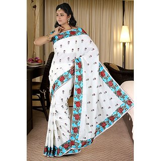 Ambition Sarees Purple Linen Embroidered Saree With Blouse