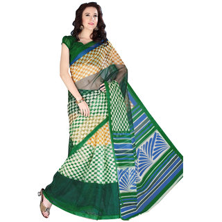 Parisha Green Linen Self Design Saree With Blouse