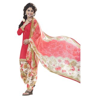 Parisha Multicolor Dupion Silk Printed Salwar Suit Dress Material