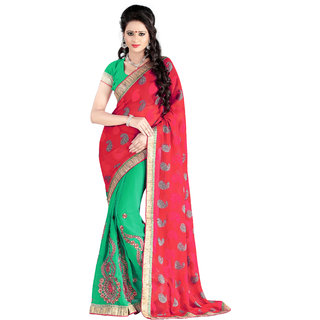 Parisha Green & Maroon Georgette Embroidered Saree With Blouse