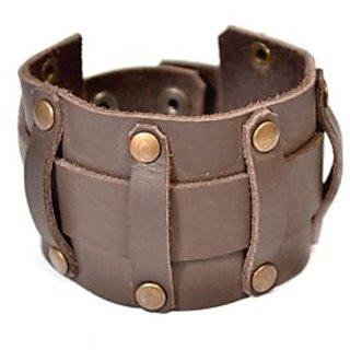 N N AUXILIARY Handmade Brown Leather Bracelet Cuff for men