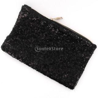 Luxury Sequins Retro Clutch Evening Bag Hand Bag Black