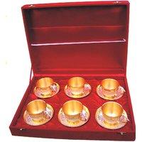 Brass two tone cup & saucer set/12 pcs