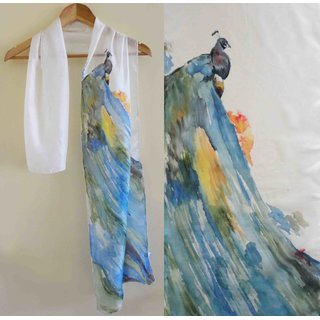 Hand-painted Silk Stole by Rangat