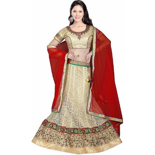 Net Embroidered Self Design Golden Ethnic Lehanga Choli/Lehenga By Pushpila