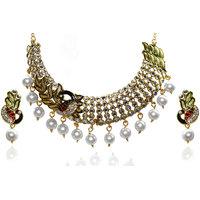 Kriaa Meenakari Kundan Pearl Peacock Gold finish Multi Necklace Set - 2103504