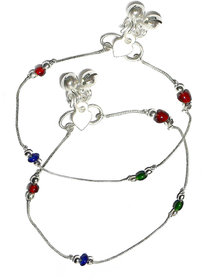Beadworks Multicolor Casual Plastic Silver Plated Everyday Wear Anklets