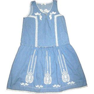 Girls Embroidery Dress Light Blue Colour