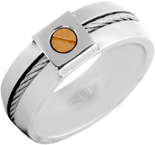 The Jewelbox Gold Rhodium Plated 316L Surgical Stainless Steel Wedding Engageent Band Ring for Men