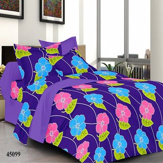 valtellina India Blue FLoral Double Bed Sheet with 2 Pillow Covers(YTD-028)