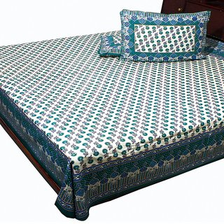 Pure Cotton Jaipuri Gold Print Double Bed Sheet Home Furnishing -101