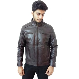 Loveleather Mens Casual Faux Leather Jackets (Loveleather-0035-Dark Brown)