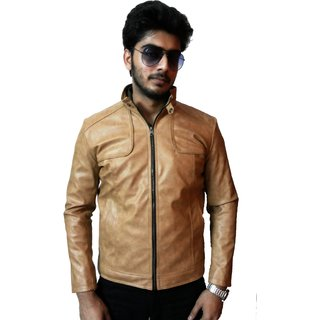 Loveleather Mens Casual Faux Leather Jackets (Loveleather-008-Mensjacket-Beige)