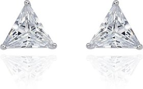 The Jewelbox Rhodium Silver Surgical Stainless Steel Pair Stud Earring