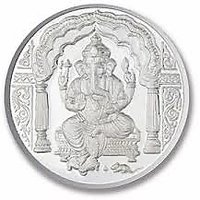 Chahat Jewellers 10gms Silver Ganesha Coin