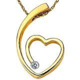 Ag Real Diamond Single Stone Fancy Heart Pendant Agsp0049
