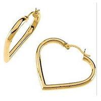 Au 18K Pure Yellow Gold Heart Earring