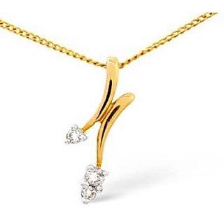 Ag Real Diamond Three Stones Fashion Shape Pendant # Agsp0099