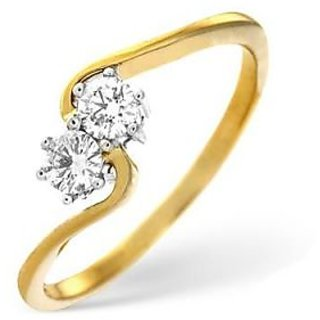 Ag Real Diamond Two Stone Slim Curve Fancy Ring # Agsr0004