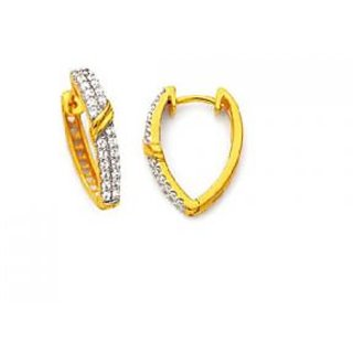 Avsar Real Gold And Diamond Beautiful Hoop Earring # Ave067