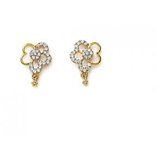 Avsar Real Gold Ad Diamond Fancy Heart With Flower Shape Earring # Ave086