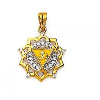 Avsar Real Gold And Diamond   Om  Pendant # Avp050