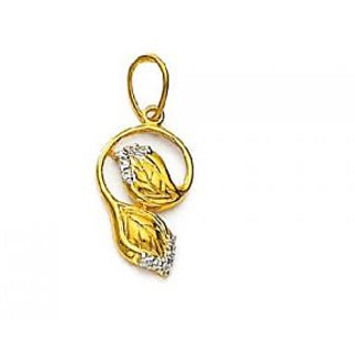 Avsar real gold and diamond beautiful leaf shape pendant avp052 aloadofball Choice Image