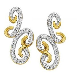 Fancy Ribbon Style Earrings Studded With Real Gold And Diamonds (Bge053)