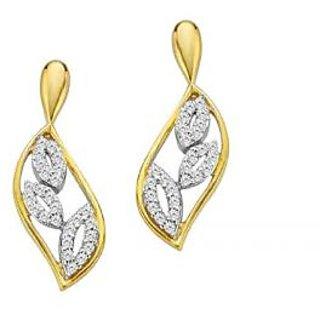 Beautiful Fancy Leaf Shape Earrings Studded With Real Gold And Diamonds (Bge056)