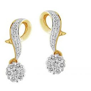 Dangling Fancy Shape Flower Earrings Studded With Real Gold And Diamonds (Bge062)