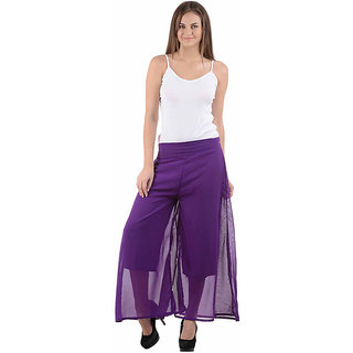 Ektara Womens Purple Plain Palazzo