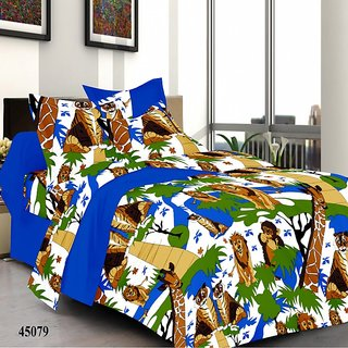 Welhouse India Save Animals, Save Life Double Bed Sheet with 2 Pillow Covers