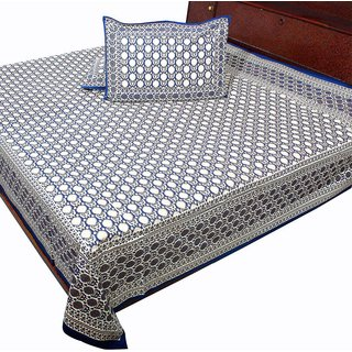 Double Bed Sheet Pure Cotton Jaipuri Gold Design Home Furnishing -116