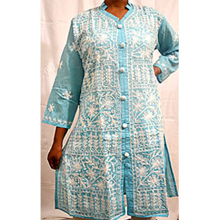 Sky-blue color embroidered kurta having buttons in front of it
